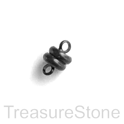 Clasp, magnetic, black, 4x6mm. Per pair