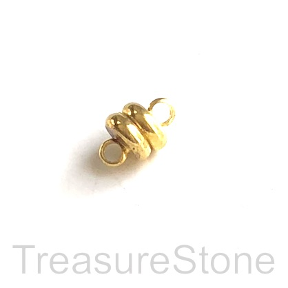 Clasp, magnetic, gold, 4x6mm. Per pair.