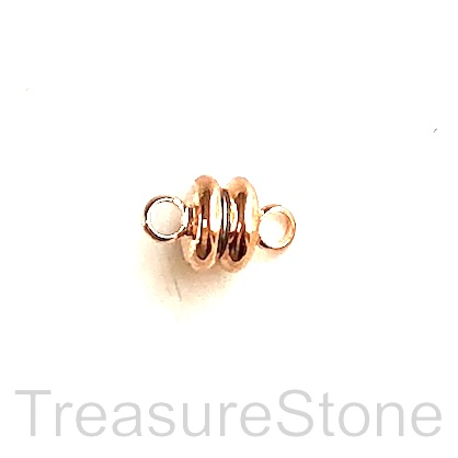 Clasp, magnetic, rose gold, 4x6mm. Per pair