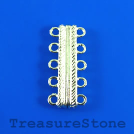 Clasp, magnetic, 5-strand, silver-colored, 7x30mm. Per pair.