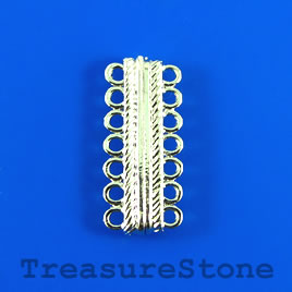 Clasp, magnetic, 7-strand, silver-colored, 7x30mm. Per pair.