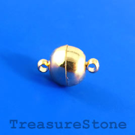 Clasp, magnetic, gold-colored, 10mm. Pkg of 2 pairs.
