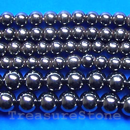 Bead, magnetic, 3mm round. 16 inch strand