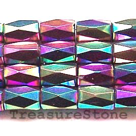Bead, magnetic, 5x8mm rainbow 18 faceted barrel. 16 inch strand