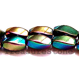 Bead, magnetic, 6x12mm rainbow 4-side twist. 16 inch strand