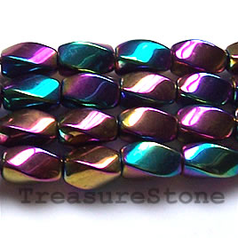 Bead, magnetic, 7x12mm rainbow 4-side twist. 16 inch strand