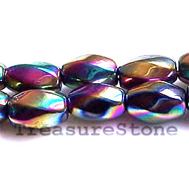 Bead, magnetic, 6x12mm rainbow 6-side twist. 16 inch strand
