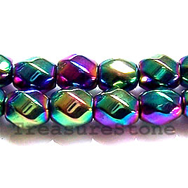 Bead, magnetic, 8mm rainbow 6-side twist. 16 inch strand.