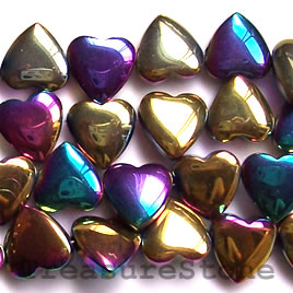 Bead, magnetic, 12x4mm rainbow heart side-drill. 16 inch strand