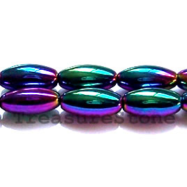 Bead, magnetic, 6x12mm rainbow oval. 16 inch strand