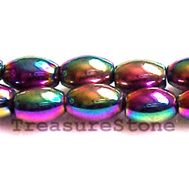 Bead, magnetic, 4x6mm rainbow oval. 16 inch strand