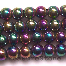 Bead, magnetic, 5mm rainbow round. 16 inch strand