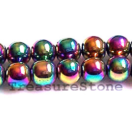 Bead, magnetic, 8mm rainbow round. 16 inch strand
