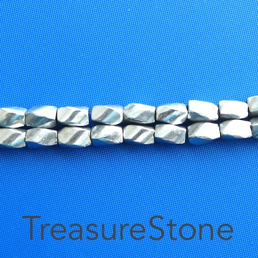 Bead, magnetic, 5x8mm silver 4-side twist. 16 inch strand.