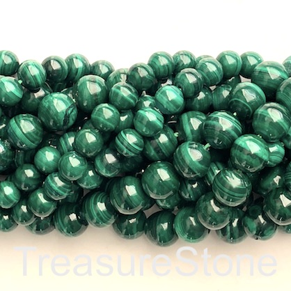 Bead, malachite, 6mm round, A- grade. 16 inch, 63pcs
