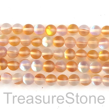 "Bead, Mermaid Glass quartz, gold, 8mm round, matt. 15"", 47pcs."