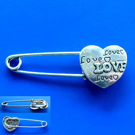 Brooch, silver-finished, 20x56mm, love heart. Sold individually.