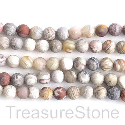 Bead, mexican crazy lace agate, 8mm round, matte.15.5 inch.48pcs