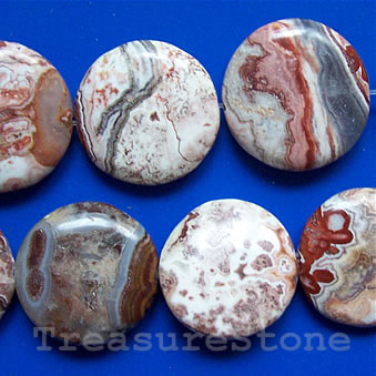 Bead, mexican crazy lace agate, 20mm flat round. 16 inch strand