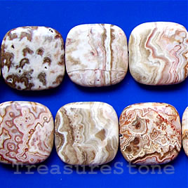 Bead, mexican crazy lace agate, 30mm flat square. 16 inch strand