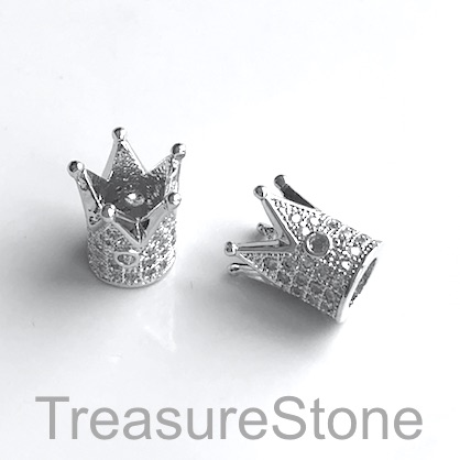 Micro Pave Bead,10x12mm silver crown, brass, Cubic Zirconia Each