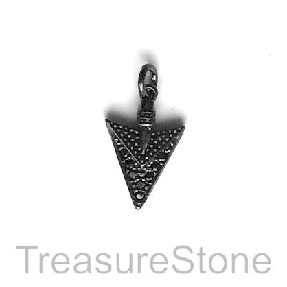 Charm, brass, 14mm black arrow head, Cubic Zirconia. Each