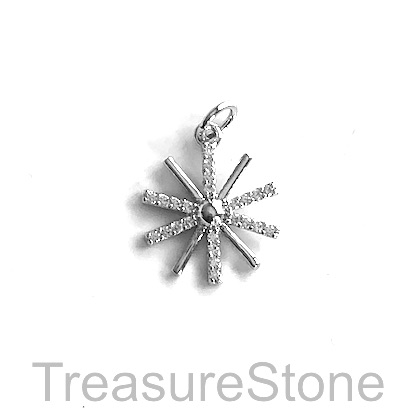 Charm, brass, 14mm silver, Cubic Zirconia. Each