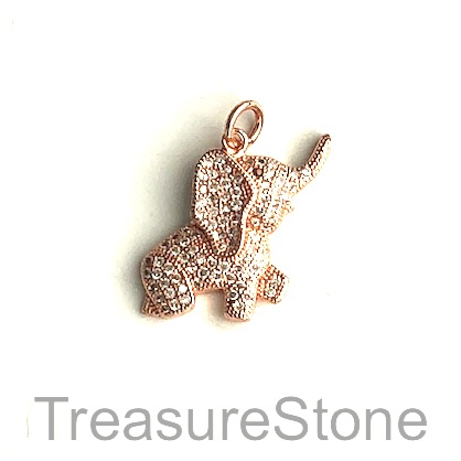 Charm, brass, 18x24mm rose gold elephant, Cubic Zirconia. Each