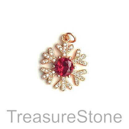 Charm, brass, 18mm rose gold snowflake, Cubic Zirconia. Each - Click Image to Close