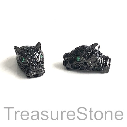 Micro Pave Bead, brass, black, 10x17mm cheetah, panther. Ea