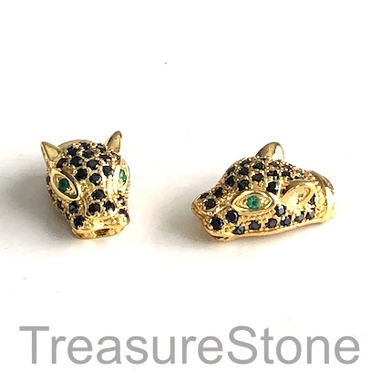 Micro Pave Bead, brass, gold, 10x17mm cheetah, panther. Ea