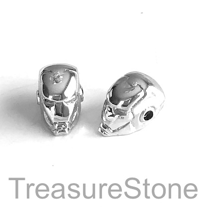 Bead, brass, 8x14mm silver ironman mask with crystals. Each