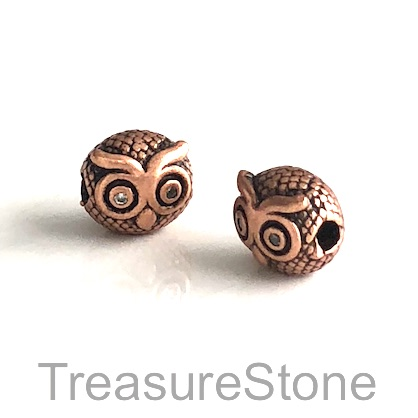 Bead, brass, 9x10mm copper owl with crystals. Each