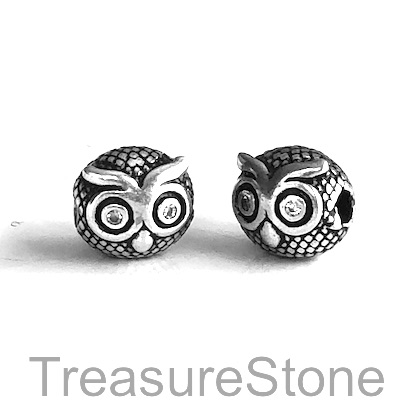 Bead, brass, 9x10mm silver owl with crystals. Each