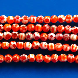 Bead, millefiori glass, orange, 4mm round. 15-inch strand.
