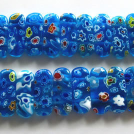 Bead, millefiori glass, blue, 6x25mm double-drilled. Pkg of 6.
