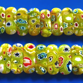 Bead, millefiori glass, yellow, 6x25mm double-drilled. Pkg of 6.