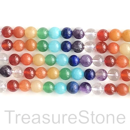 Bead, rainbow, chakra colour gemstones, 6mm round. 15inch, 60