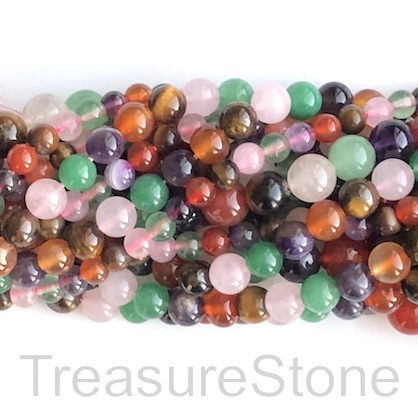 Bead, mixed colour gemstones, 10mm round. 14.5 inch, 38pcs