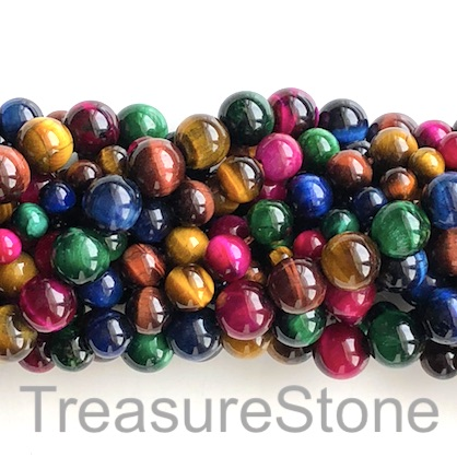 Bead, dyed Tiger's Eye, mixed color 2, 8mm round. 15-inch, 47pcs