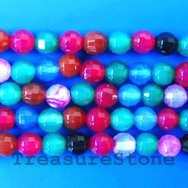 Bead, agate(dyed), multicolored, faceted round, 6mm. 16-inch