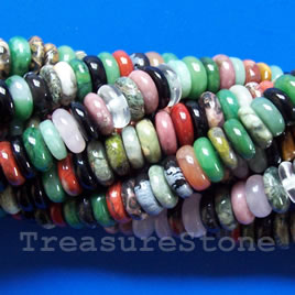 Bead, mixed sones, 4x9mm disk. 15.5 inch.