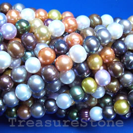 Pearl,freshwater(dyed), multicolored,6mm potato. C grade.16-inch