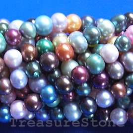 Pearl,freshwater(dyed),multicolored, 7mm potato. C grade.16-inch