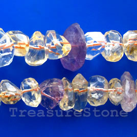 Bead, mixed quartz, 8x13mm faceted nugget. 16-inch strand.