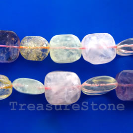 Bead, mixed quartz, about 18x20mm freeform. 16-inch strand.