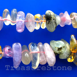 Bead, mixed quartz, about 15mm large chip. 16-inch strand.