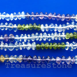 Bead, mixed quartz+others, 3x5mm saucer. 16-inch strand.