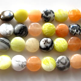 Bead, mixed sones, 10mm flat round. 15.5 inch.