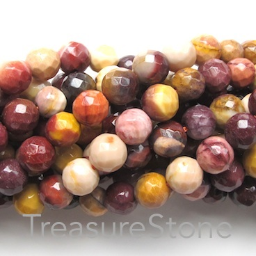 Bead, Mookaite Jasper, 8mm faceted round. 15.5-inch strand.